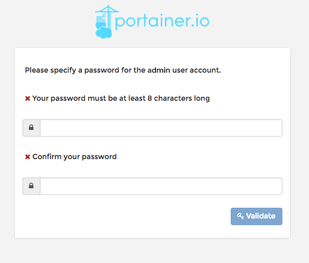 Portainer specify admin password screen
